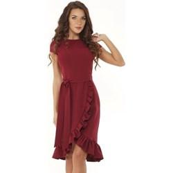 cf9e14f62f Sukienka Ella Dora z okrągłym dekoltem z krótkim rękawem czerwona elegancka  na randkę asymetryczna