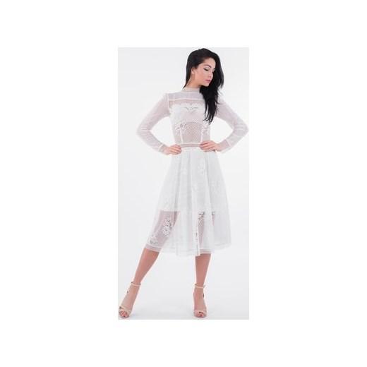 2c7ef07e91 Sukienka Lulu Fashion  amp  Style Poland koronkowa midi z długim rękawem