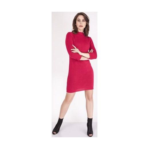 5905a0c88c390a Sukienka Mkm Swetry różowa prosta z golfem w paski midi w Domodi