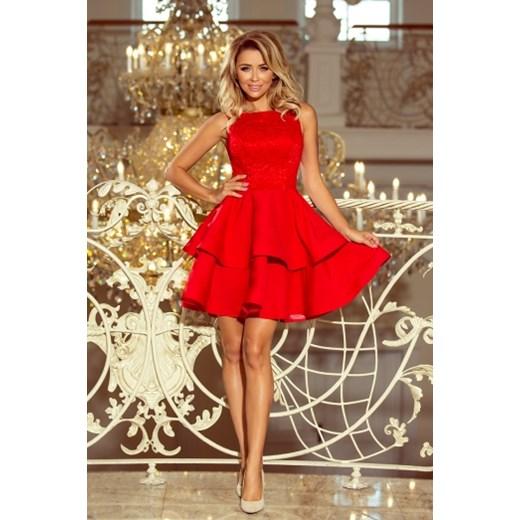 00affcbbd3 Wieczorowa sukienka z wyszywaną górą i falbaniastym dołem Numoco L  ptakmoda.com ...