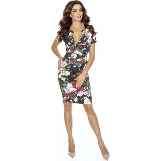 f5308552cc Elegancka Sukienka z Założeniem Kopertowym w Kwiaty bezowy Molly.pl M  okazyjna cena