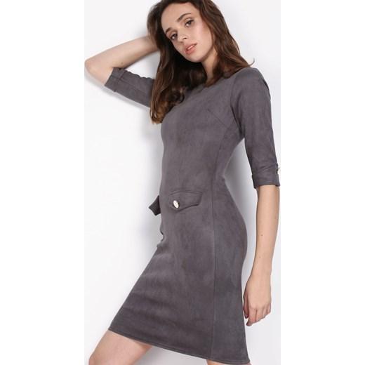 3c99b79ceb Szara sukienka Born2be z długim rękawem z okrągłym dekoltem midi w ...