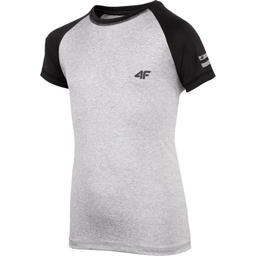 0d681d4bba8b87 Koszulka sportowa dla dużych dzieci (chłopców) JTSM400 - chłodny jasny  szary melanż 4F w Domodi