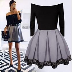 fb6399b683 Pakuten sukienka z dekoltem typu hiszpanka z długimi rękawami