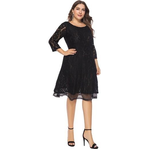 27e2e61876 ... długimi rękawami midi na sylwestra  Elegrina sukienka z dekoltem w  łódkę na wieczór elegancka midi ...