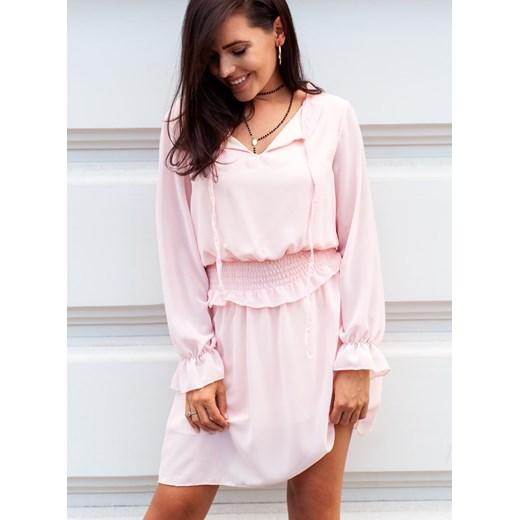 bb899b0409 Sukienka Selfieroom różowa z długim rękawem poliestrowa bez wzorów w ...