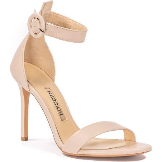 Sandały damskie ze skóry bez wzorów eleganckie na wysokim obcasie Buty Damskie LH różowy Sandały damskie OXYV