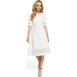 30a48552f8 Sukienka Moe z okrągłym dekoltem na ślub cywilny gładka z krótkimi rękawami