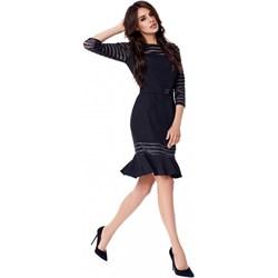 4344bb70ec Sukienka Potis   Verso z długim rękawem czarna midi w paski w stylu glamour