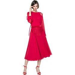 3d13ad1cc8 Aneta Kręglicka X L af sukienka baskinka czerwona z okrągłym dekoltem na  wiosnę midi na
