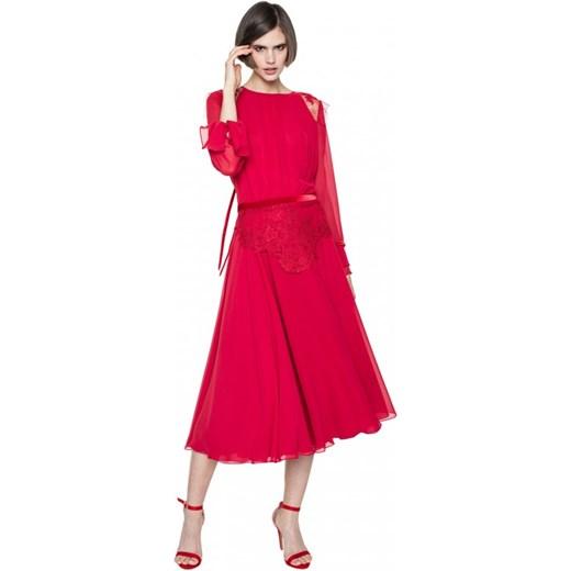 900cbdec71 ... Sukienka Aneta Kręglicka X L af z długim rękawem czerwona na wesele z  okrągłym dekoltem ...
