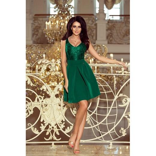 bd3048818a Sukienka zielona Numoco midi rozkloszowana na ramiączkach w Domodi