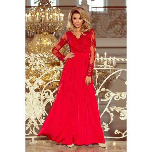 27e095df20 Unicato - butik dla nowoczesnych Kobiet 213-3 ARATI długa suknia z  haftowanym dekoltem i