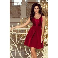 2ab75946b6 Sukienka czerwona elegancka bez rękawów na wesele z okrągłym dekoltem