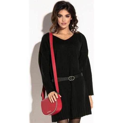 38eda34b75 Sukienka Fobya luźna wiosenna czarna w Domodi