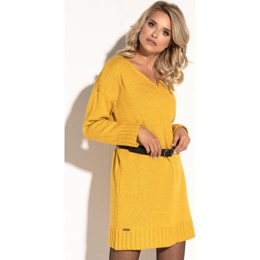 d783db78d8 Fobya sukienka żółta oversize owa na uczelnię z wełny mini bez wzorów ...