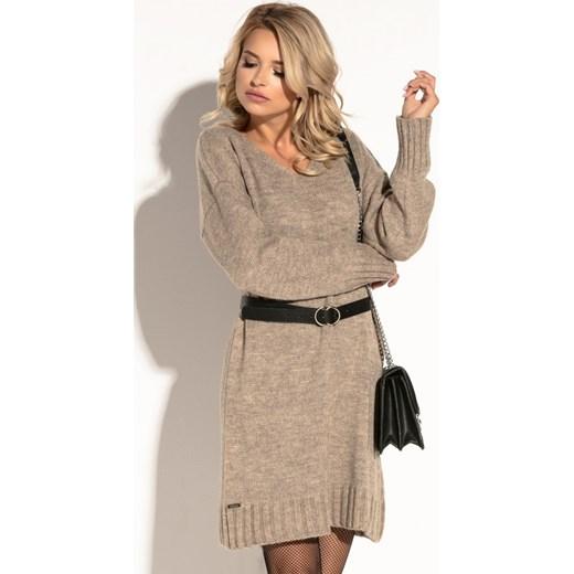 5c642d3b23 Sukienka brązowa Fobya dzienna z długim rękawem  Sukienka Fobya oversize  midi gładka luźna dzienna ...
