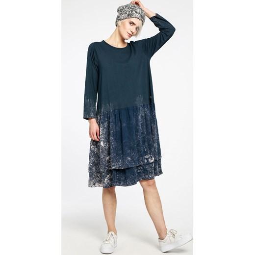 0a40c3b4ed Sukienka niebieska midi z tkaniny dzienna z okrągłym dekoltem na wiosnę
