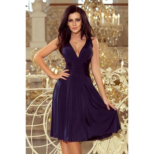 6a160cb857 Sukienka Numoco rozkloszowana niebieska na karnawał elegancka na ramiączkach   Sukienka Numoco midi ...