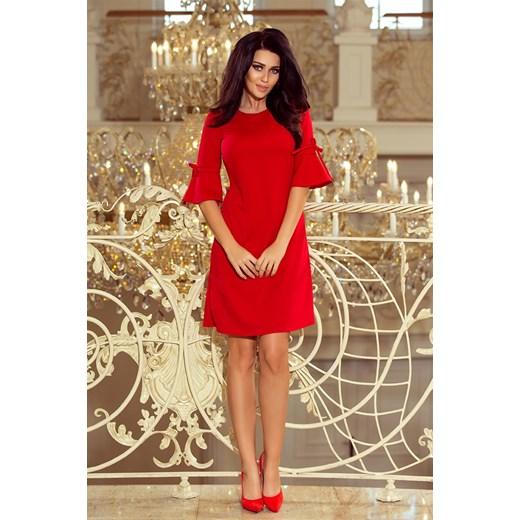 55fb6f7950 ... Sukienka Numoco z okrągłym dekoltem na wiosnę trapezowa elegancka midi  Czerwona  sukienka Numoco elegancka ...