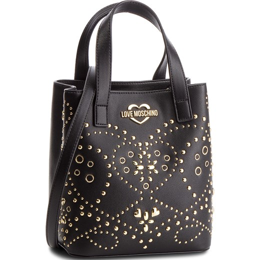 8f537939eca180 Shopper bag czarna Love Moschino zdobiona do ręki casual w Domodi