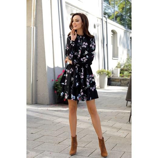 56e302dfddae11 Sukienka Lemoniade na spotkanie biznesowe w kwiaty z długimi rękawami midi  casual w Domodi