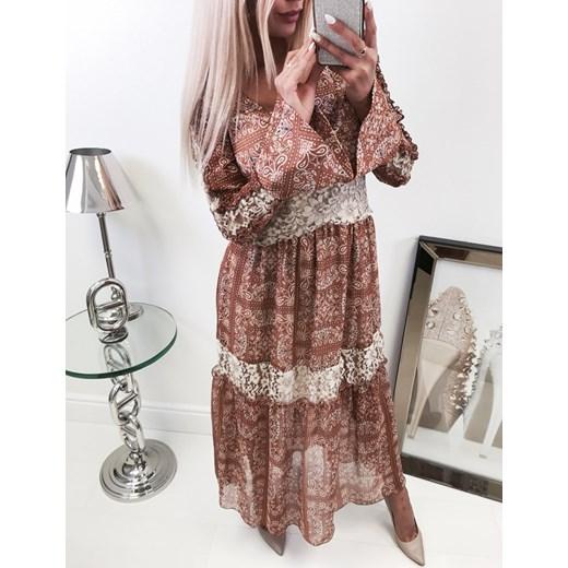 fc068f74ee53 ... By o la la jesienny look zjawiskowa maxi sukienka w efektowny wzór brą By  O La