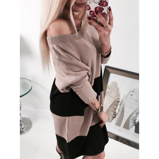 6b520d9c7c ... By o la la modna dzianinowa sukienka w pasy cappucino By O La La  uniwersalny 4friko