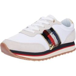 7962b01af0144 Buty sportowe damskie beżowe Tommy Hilfiger sneakersy młodzieżowe na  platformie wiązane
