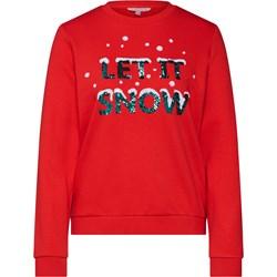 6c0b39b01cbac9 Only. Sweter damski czerwony Tom Tailor Denim z okrągłym dekoltem w świąteczne  wzory