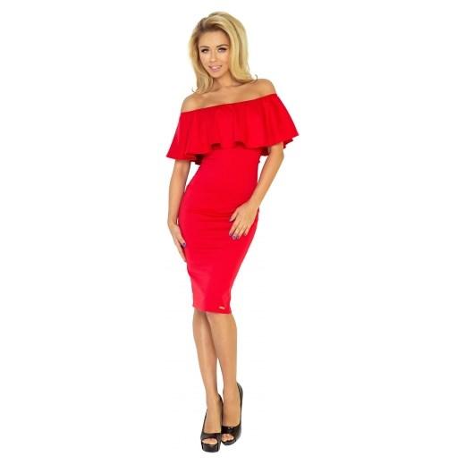 d2f301143b ... Sukienka czerwona Numoco midi na co dzień ołówkowa na wiosnę z krótkim  rękawem z dekoltem typu ...