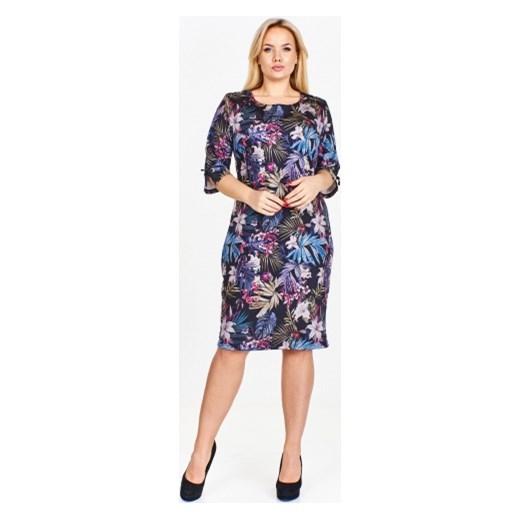 626dbd98b1 ... Wzorzysta sukienka z rękawami 3 4 lekko rozciętymi i wiązanymi subtelną  tasiemką Luiza 54 ptakmoda ...