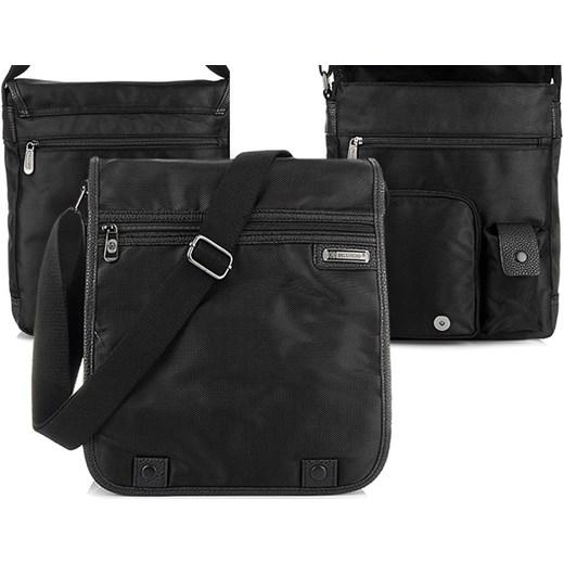 00c8496022417 CZARNA LISTONOSZKA męska BELLUGIO torba B5 z klapą T22 Bellugio czarny  krateczka com pl