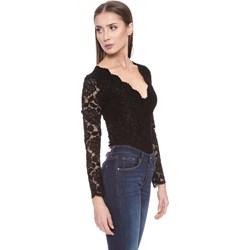 f9a1c87e37e5 Guess bluzka damska czarna z długim rękawem z dekoltem v