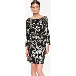 bf092f1d27 Sukienka wielokolorowa Top Secret z długim rękawem z aplikacjami z okrągłym  dekoltem z odkrytymi ramionami