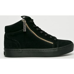 6adb37134b016 Sneakersy damskie Tommy Hilfiger skórzane czarne gładkie wiązane