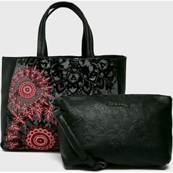 d45ca20dfe82a Desigual shopper bag wielokolorowa zdobiona bez dodatków do ręki z bawełny  młodzieżowa