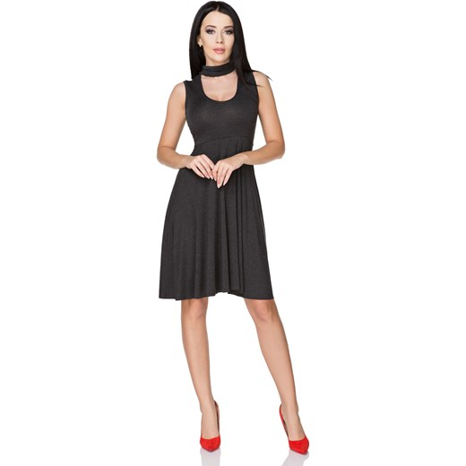 eb77c5596e Sukienka bez rękawów midi z dekoltem choker na imprezę w Domodi
