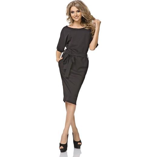 1b58cbbadb Sukienka z krótkim rękawem midi elegancka z okrągłym dekoltem oversize owa  luźna