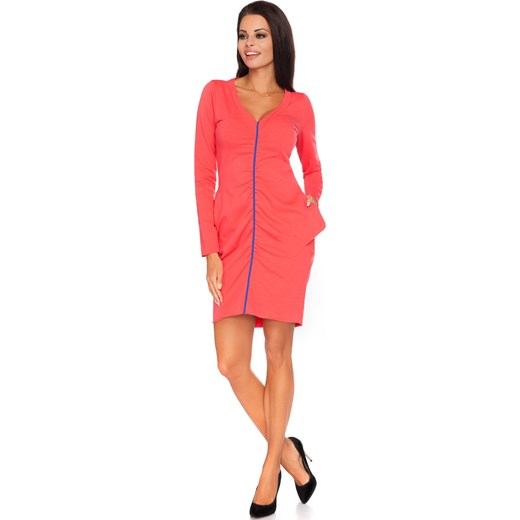 cb1769801dfd4d Sukienka różowa z dresu ołówkowa mini na uczelnię w Domodi