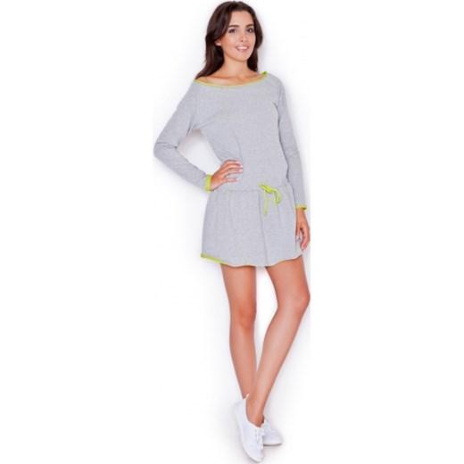 c09d5e5e2e Sukienka szara bawełniana z długim rękawem mini bez wzorów z okrągłym  dekoltem dzienna
