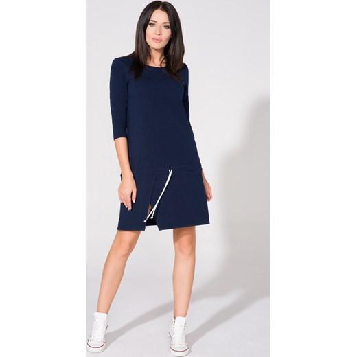 0ef12c65dd Sukienka niebieska z okrągłym dekoltem w Domodi