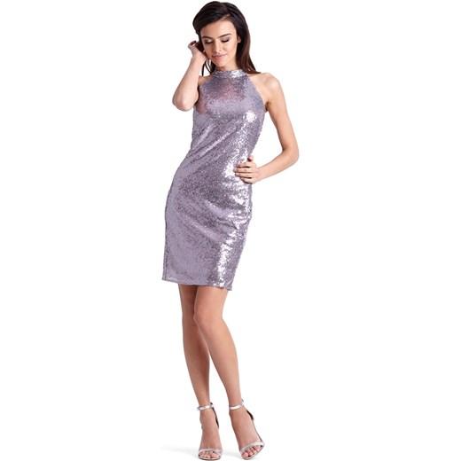 d717273b7c ... Sukienka Jestes Modna na sylwestra dopasowana z okrągłym dekoltem ...