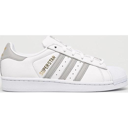5868b2c335b3a Trampki damskie białe Adidas Originals superstar bez wzorów płaskie ze skóry  sznurowane sportowe