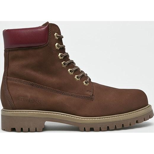 6184f8ddf2c3 Buty zimowe męskie Guess Jeans brązowe sznurowane skórzane w Domodi