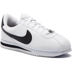new style 61ecc 09c71 Buty sportowe damskie Nike sneakersy cortez białe sznurowane płaskie ze  skóry ekologicznej