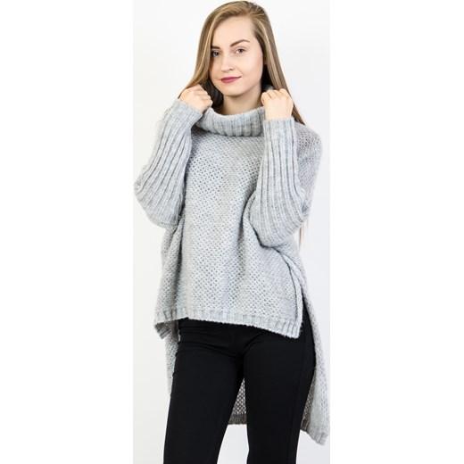 95fab1259e Asymetryczny szary sweter oversize z golfem Olika uniwersalny olika.com.pl  ...