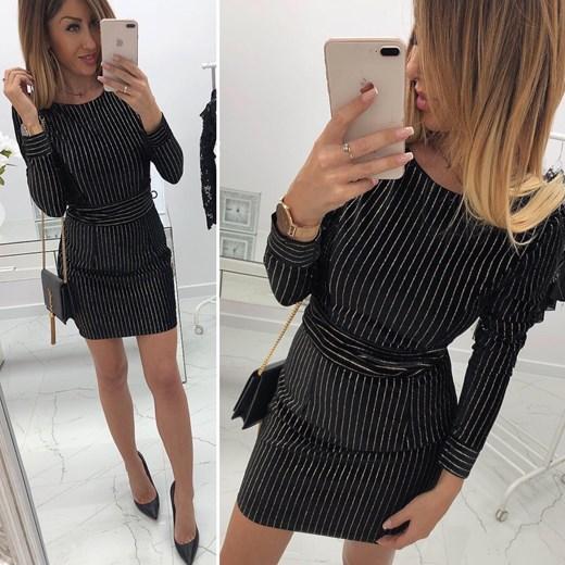 3b452c4bbb Sukienka na wiosnę czarna mini z długimi rękawami z okrągłym dekoltem do  pracy