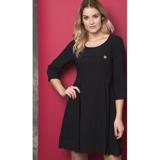09bac8a45b Sukienka czarna Yups mini z długim rękawem z okrągłym dekoltem w Domodi
