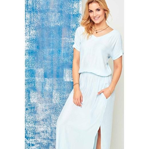 212b1546cc Sukienka maxi Cocomore Boutqe z dekoltem w serek niebieska Yups L ...
